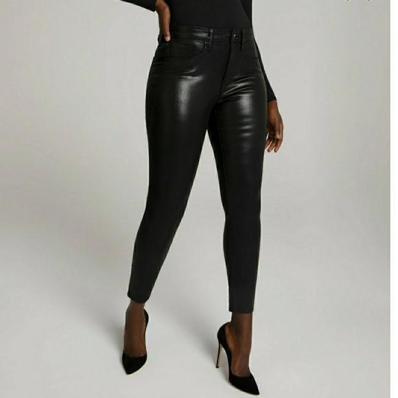 Good American Black Coated Jeans-good legs